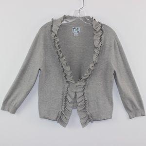 💘 Tabitha Ruffled Gray Open Cardigan Sweater L